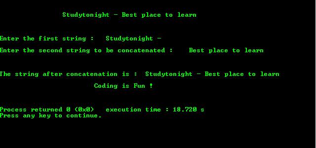 Basic C Program to Concatenate Strings using Pointer | C