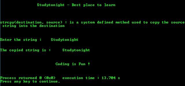 C Program to copy string using strcpy() Function   C ...