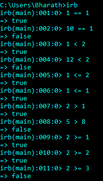 Relational Operators in Ruby
